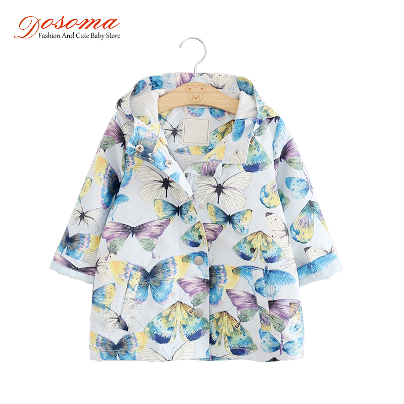 New Spring Kids Clothes Jackets For Girls Coats Big Butterfly Printed Hooded Windbreaker For Girls Children Fashion Outerwear