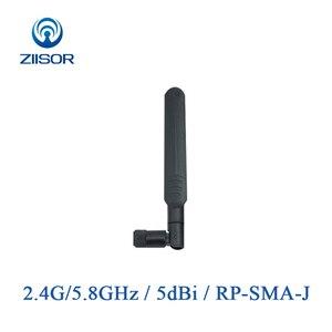 Image 1 - 2 sztuk 2.4GHz 5.8GHz Antena wifi dwuzakresowy Antena o wysokiej mocy składana Omni RP SMA kobieta Antena do routera 2400M 5800M Z06 BWFSRJ
