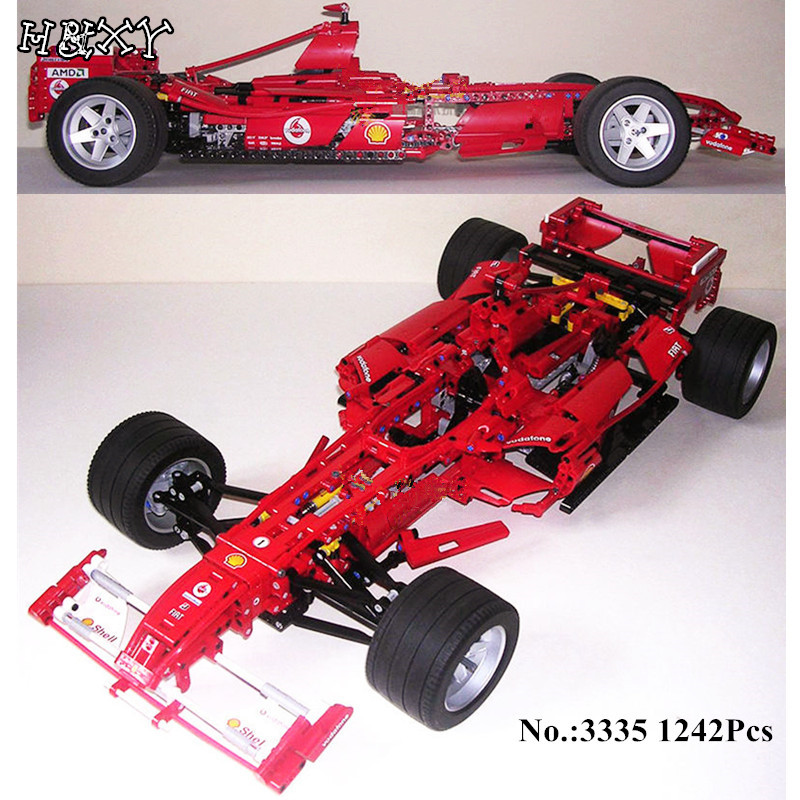 H&HXY In Stock Formula Racing Car 1:8 Model 3335 Building Blocks Sets 1242pcs Educational DIY Bricks toys for DIY Children Gift 8 in 1 military ship building blocks toys for boys