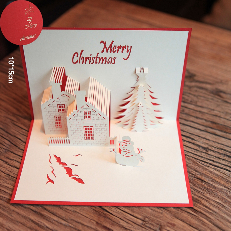 Red Christmas Castle 3D laser cut pop up paper handmade postcards custom wholesale greeting cards Xmas gifts 3pcs flying xmas santa ride greeting cards 3d laser cut pop up paper handmade postcards christmas party gifts supplies souvenirs