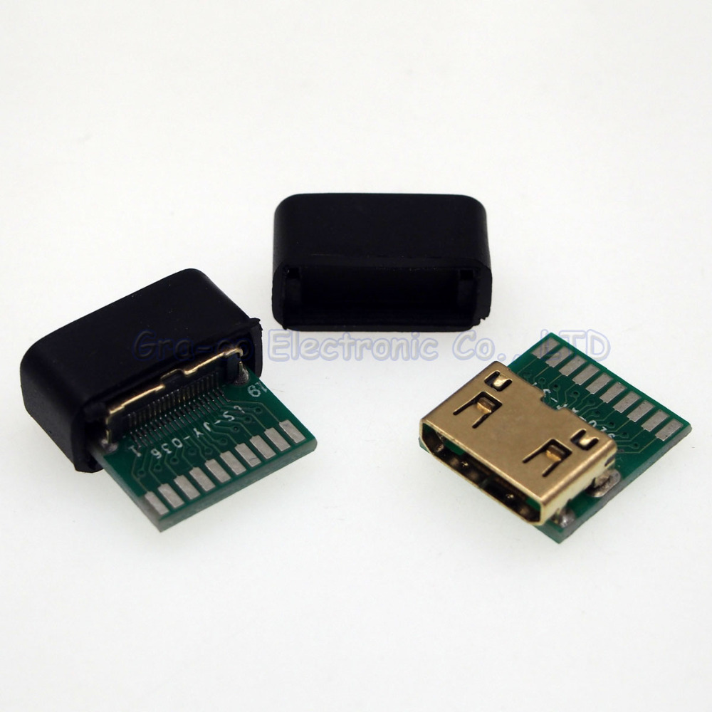 25pcs HDMI C TYPE female socket connector With PCB board with shell