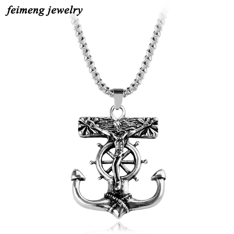 Retro Punk Anchor Jesus Cross Necklace Best Friend Gift Alloy Link Chain Pendant Necklace For Men Christmas Day Free Shipping