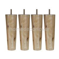 4Pcs 8inch Height Cone Shape Eucalyptus Solid Wood Furniture Sofa Legs Natural Color