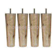 4Pcs 8inch Height Cone Shape Eucalyptus Solid Wood Furniture Sofa Legs Natural Color(China)