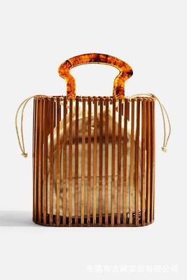 NEW 2019 Straw Bags Summer Bamboo Hollow Basket Bag Women Handmade Natural Oval Beach Bag Tote Handbag Acrylic Clutch