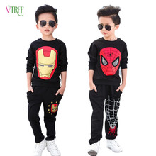 2016 New Kids Boys Clothing Set For Boys Spring Autumn Cotton Spider Man Boys Sports Suit Set Active Baby Kids Clothing Sets