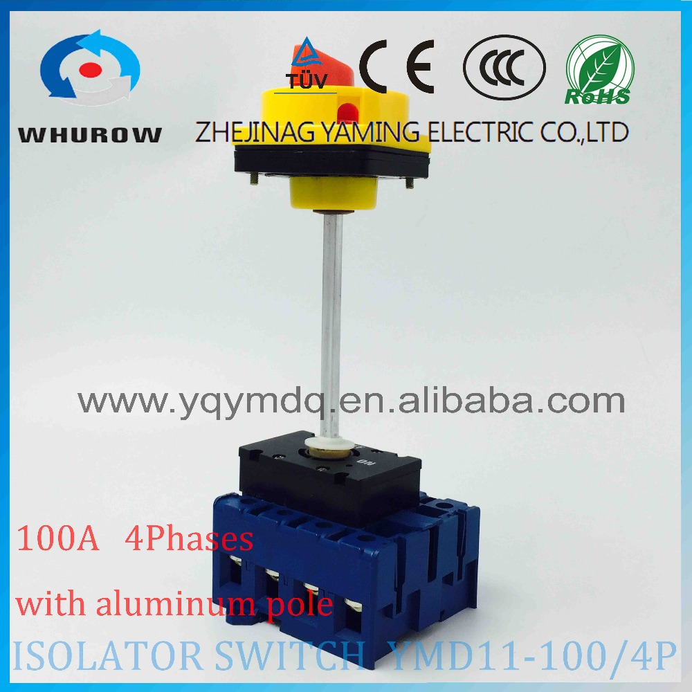 Isolator switch YMD11-100B/4P with padlock aluminum pole 100A Load break power cut off operation outside electrical cabinet afr2000 air pressure regulator water separator trap filter airbrush compressor with fittings