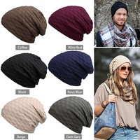Alishebuy Unisex Men Women Casual Solid Stretchy Braid Pattern Knitted Beanie Hat Winter Fashion