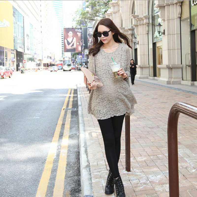 2018 Spring autumn maternity clothes Pregnant women dress the lace pattern Pregnancy wear round collar blouse