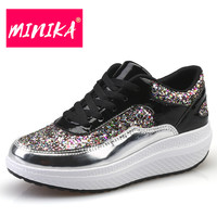 MINIKA Designer 2017 Women Sequins Shoes Flat Platform Sapato Feminino Lace Up Women Shoes Flats Luxury