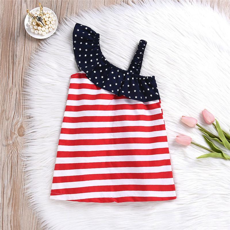 HTB1orMDvRjTBKNjSZFuq6z0HFXaH - Baby Girls Infant Kids 4th Of July Star Dress Clothes Sundress Casual Sets T#