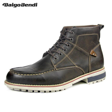Recommend ! Must Have Lace Up Leather Boots Men Retro Round Toe Casual Riding US Big Size 12 13 Winter Oxfords Man