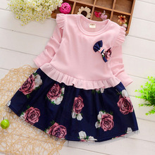 JENYA New Princess Dress Long Sleeve Brand Spring Autumn Baby Girl Dress with Bow Kids Floral Dresses For Girls Children Clothes w l monsoon baby girls dress with sashes 2017 autumn brand princess dress girls clothing flower kids dresses children clothes