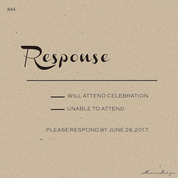 RSVP DIY Invitation Stamp French Script Wedding Custom