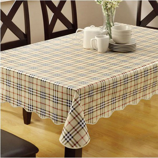 Pvc Ne Table Cloth Plastic Waterproof Oilproof Dining Tablecloth Plaid Printed Cover Overlay