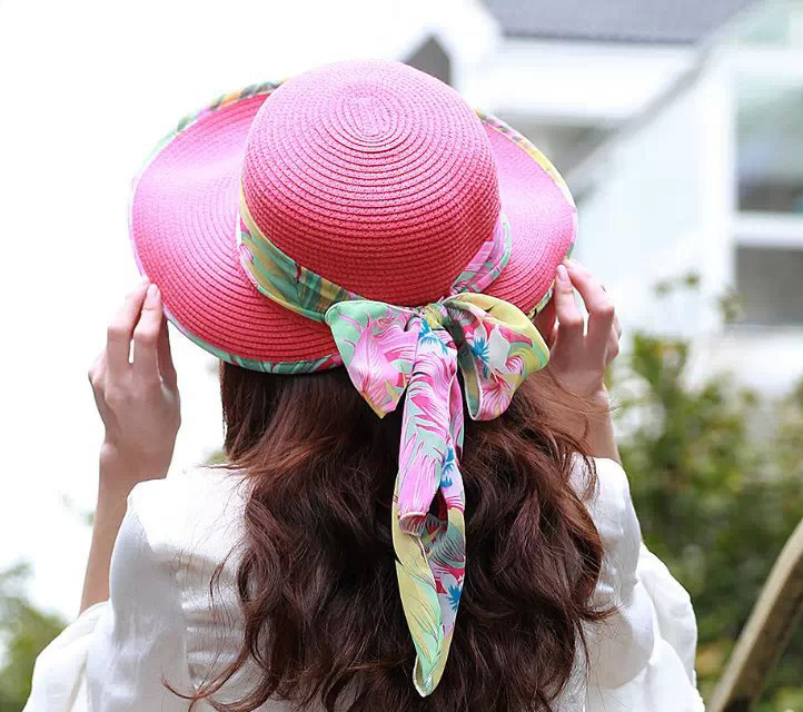 summer hats New Korean Style Traditional Casquette women hats Solid With Ribbon  Sun Shade Beach Cap Popular straw hats XMZ011-in Sun Hats from Apparel ... 7014a28fa5a2