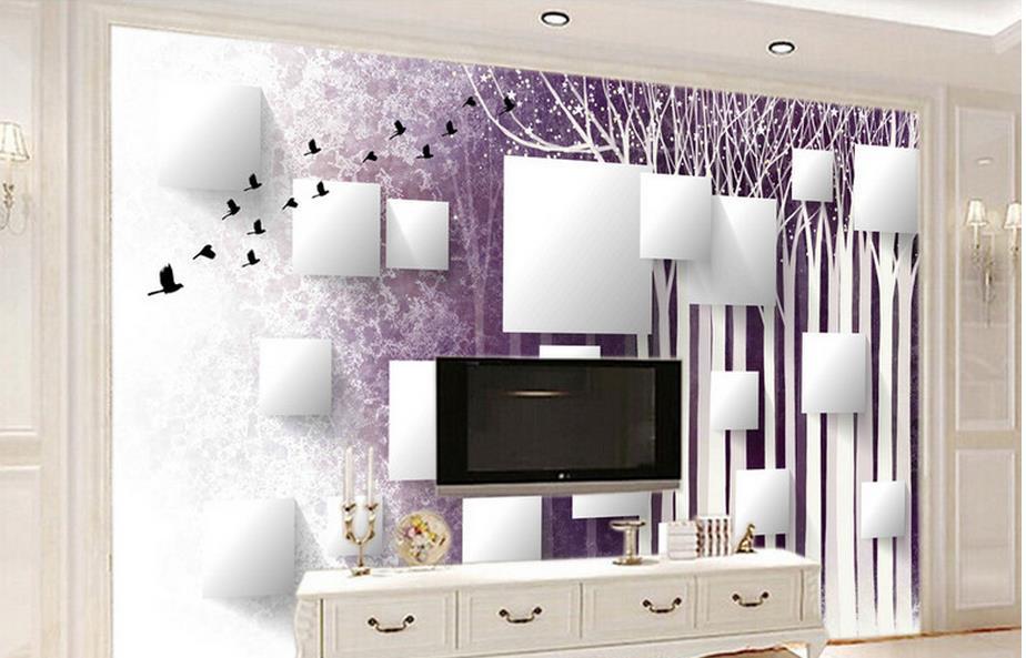 customize 3d wall papers home decor living room Woods Birds 3d wall murals 3d stereoscopic murals wallpaper