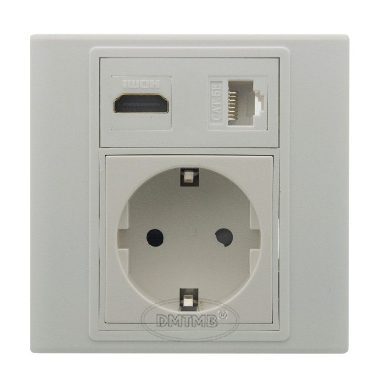HDMI RJ45 EU AC power wall plate and support DIY