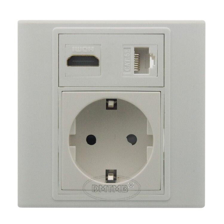 HDMI, RJ45 placa de parede de energia AC DA UE e suporte DIY