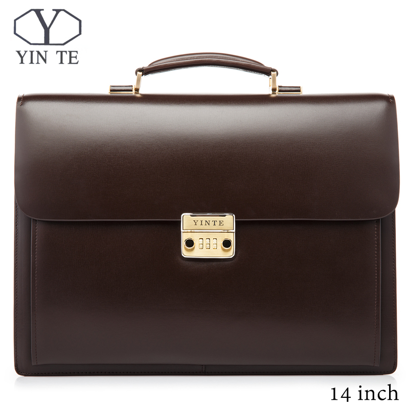 YINTE Leather Men Briefcase Brown Bag High Quality Business Laptop Lawyer Handbag Document Case Totes Portfolio T8158-5