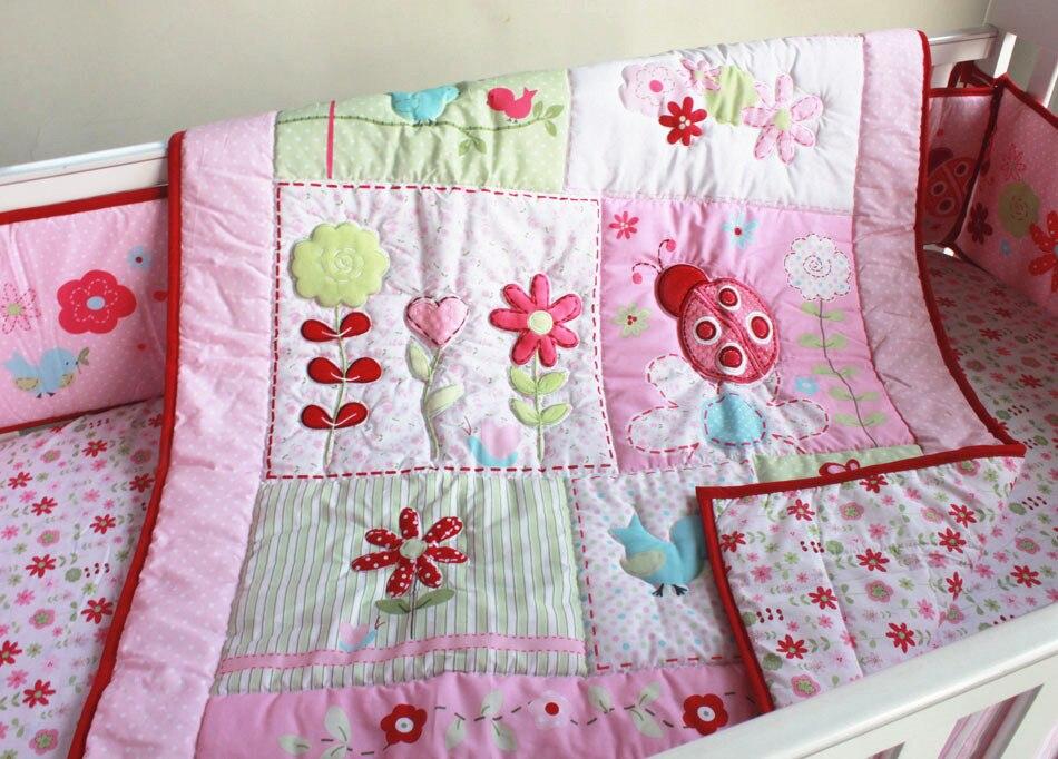 Promotion! 4pcs embroidered Baby Crib Bedding Set Cotton Crib Bedding Cartoon ,include(bumper+duvet+bed cover+bed skirt) promotion 4pcs embroidered crib bedding baby bedding set sweet baby nursery crib set include bumper duvet bed cover bed skirt