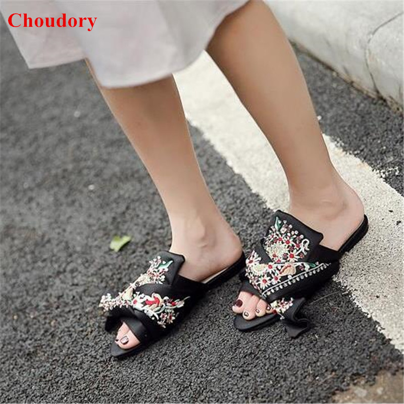Botanical Satin Bow Mules Sandals Shoes Women 2017 Designer's Embroidery Knotted Silk Cozy Flat Slippers Women Slip On Shoes купить