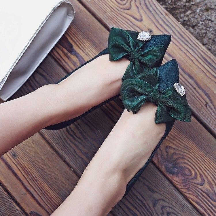 Dames Bout Danse vert Mince Partie Vert Chaton Noir Bowtie Mode Noeud Chaussures Talon Pompes Mariage Femmes rouge Ville De Pointu Talons wwPxq4F1