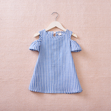 JENYA 2019 New Children Dress Girls Blue Striped Strapless Bow Dresses Kids Clothes Girls Gift Summer Party Dress 6 10y girls clothes gray plaid candy bow black striped party summer dress kids clothing