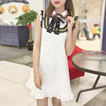 Vestidos Mujer Vintage Sequin Dress High Quality Woman Peter Pan Collar Summer Lace Dresses