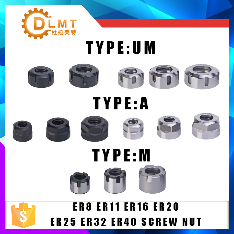 1PCS ER8 ER11 ER16 ER20 ER25 ER32 A/M CNC Router Engraving ER20 Nuts ER High Precision Machine Nut ER Collet Accessory Sparepart