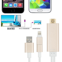 2 in 1 AirPlay 8Pin/Micro USB Cable Adapter to HDMI TV AV USB Sync Cables For iPhone 5/6/5S/6S and Most Android Phone Tablets