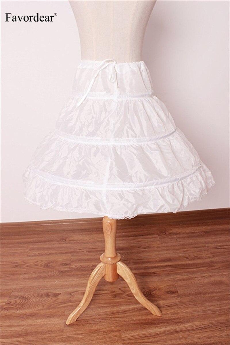 WDE Puffy Crinoline Petticoat Skirt Girls 3 Hoops Slip Pageant Dress Gown
