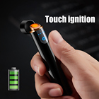 Lighters Mini Touch Screen Electric Cigarette Lighters USB Rechargeable Thin Windproof Metal Lighter Gadgets Dropshipping