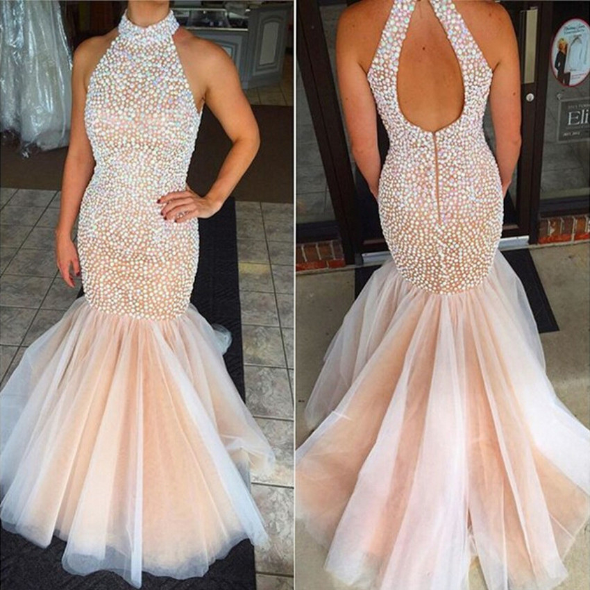 NEW Sexy Beading Pearls Low back Mermaid Halter   Prom     dress   NEW 2017 Evening   dresses