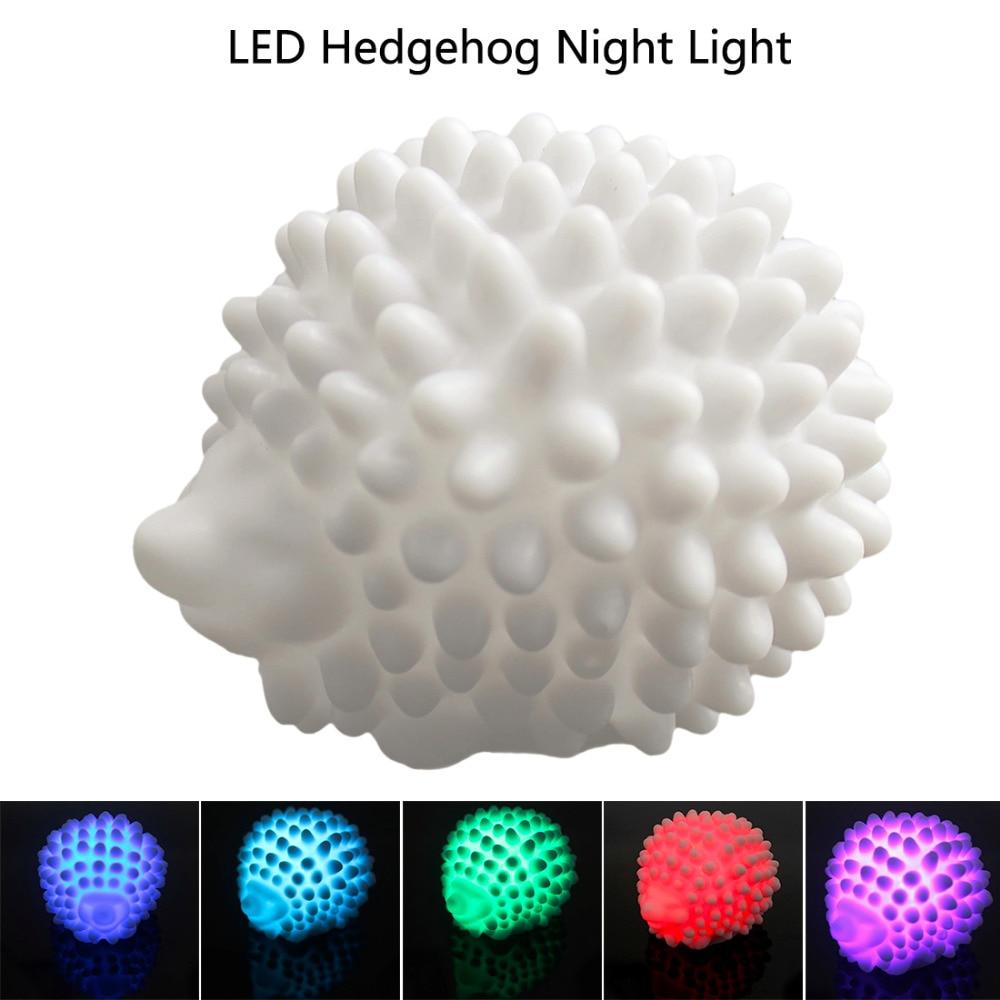 Novelty Christmas Present LED Hedgehog Night Light Lamp Desk Lamp Changeable-color Baby Light Home LED Bedside Light Lamp
