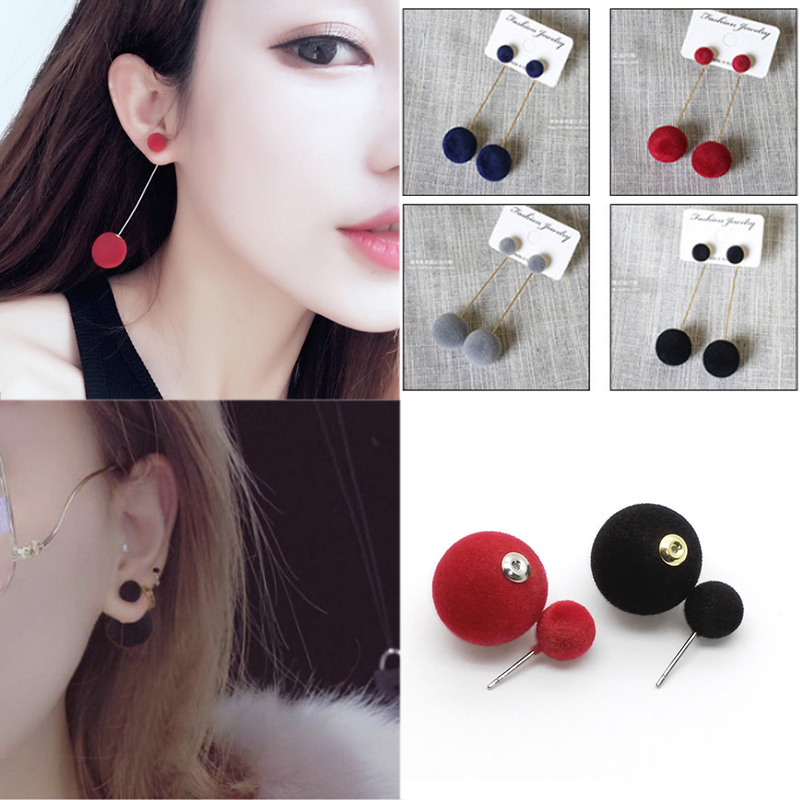 1 Pair Fashion Jwelry Women Hairball Drop Long Earrings Ball Double-sided New Long Section Charming Diverse Winter Geometry