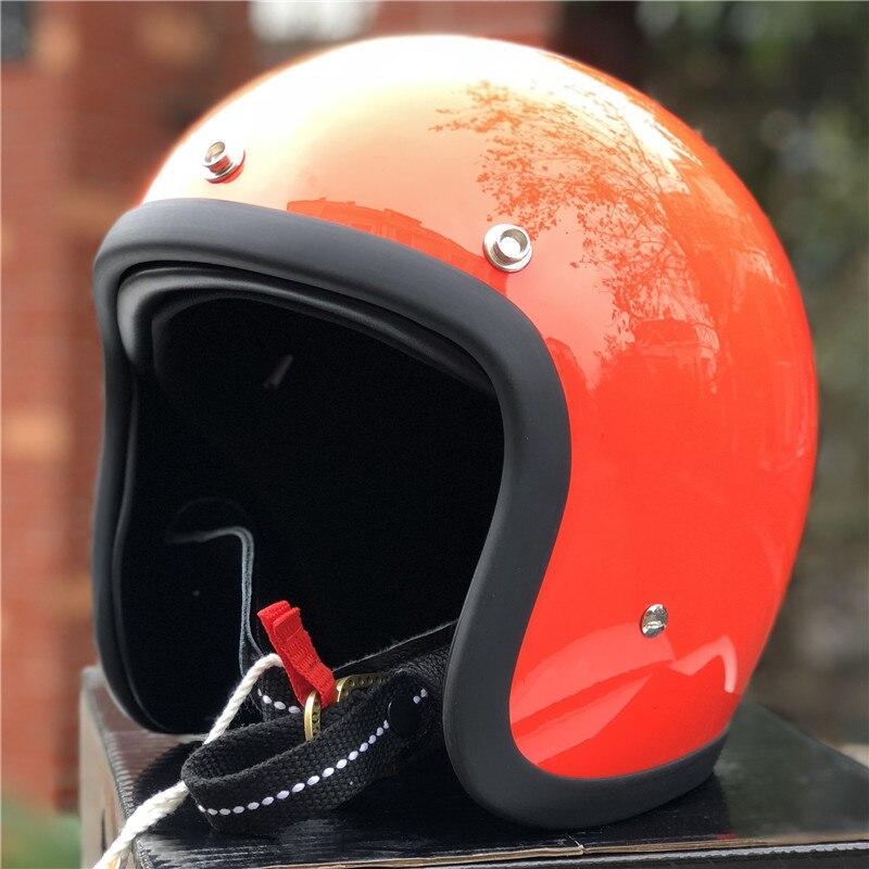 TT & CO fatto a mano retrò moto casco 3/4 Aperto Viso casco moto D'epoca stile DD anello fibbia Sottile Borsette vecchio Stile Moto