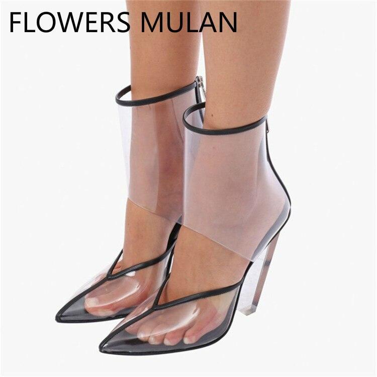 Plus Size Moda T Mostrar Mulheres Botas Sandálias Chiques Cut outs Superior Primavera Outono Sapatos Mulher Apontou Cunhas Dedo Do Pé claros Saltos Pista - 2