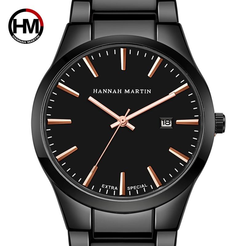 Hannah Martin relojes de hombre Top marca de lujo hombres reloj Auto fecha relojes de acero inoxidable reloj saat erkek kol saati