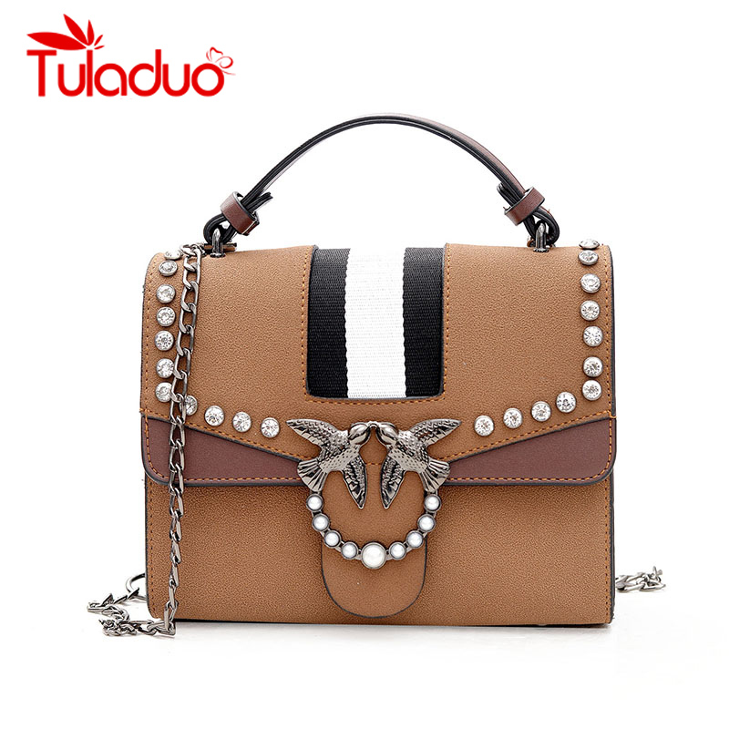 Tuladuo Brand 2018 Female Hand Bag Woman Messenger Bags Lady Rivet Chain Women Fashion Leather Shoulder Bag Girl Crossbody Bags leftside fashionable 2017 women tassel designer rivet boston bag female handbag woman hand bags shoulder bag with wide strap