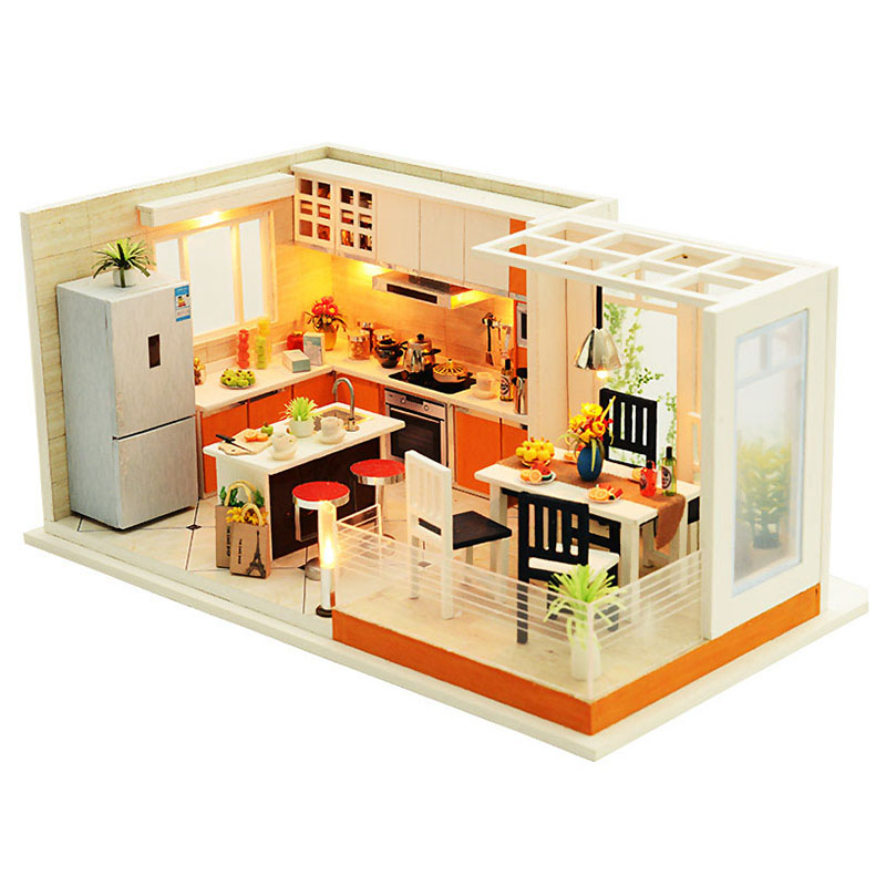 Modern Kitchens Handmade Dollhouse Furniture Miniature Diy Dollhouse Miniature Dollhouse Wooden Toys For Children wooden handmade dollhouse miniature diy kit caravan