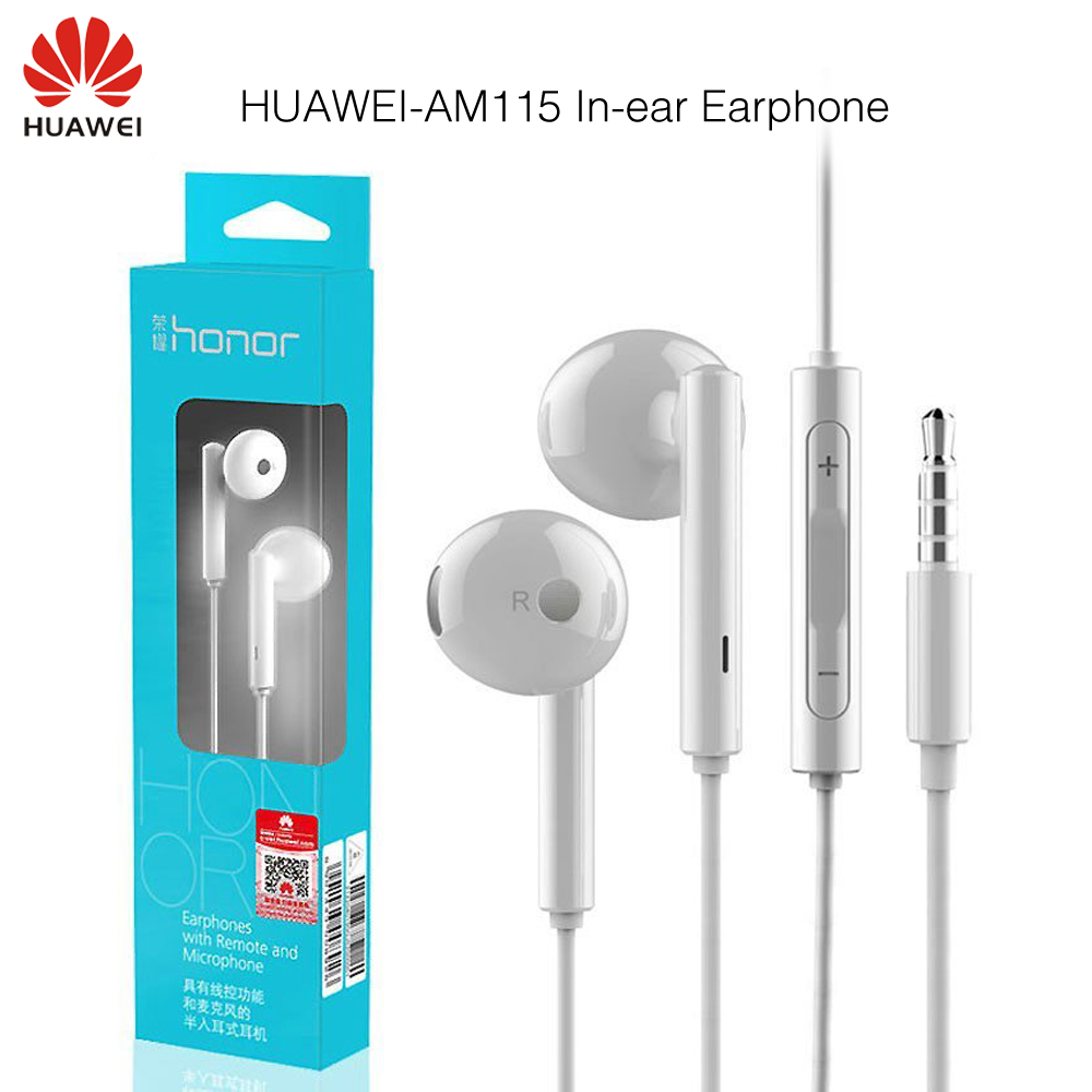 Original Huawei Honor AM115 Earphone With Mic For Xiaomi Huawei Universal phone Retail box High Bass quality Free Shipping huawei honor am115 earphones with mic in ear sports earphone wired music headsets for xiaomi huawei android htc oneplus asus