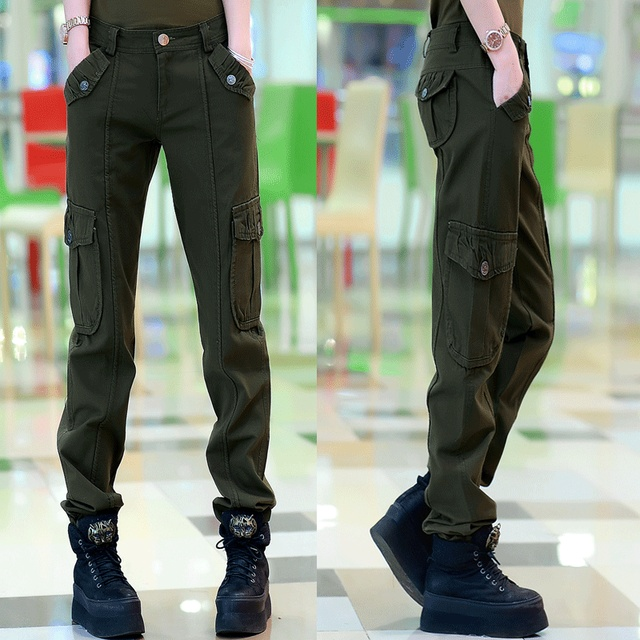 ca0e5e4c1e0a3 Womens Cargo Pants Army Green Casual Pants Women New 2017 Ladies Military  Style Army Pants Multi