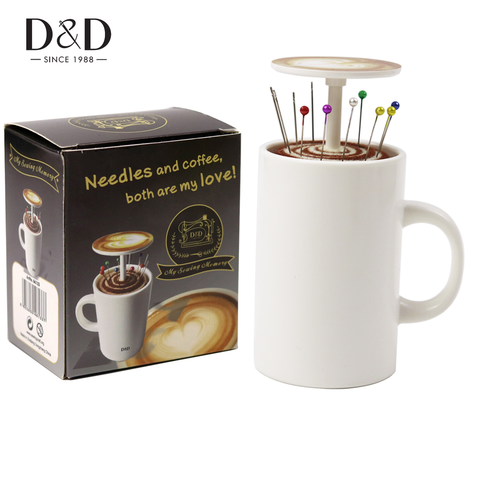 D&D 1pc New Design Sewing Pin Cushion Coffee Cup Shape DIY Sewing Tools with 12pcs Pins Accessories