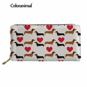 Coloranimal 3D Cute Dachshund Dog Pattern Women Long Wallet Casual Portable Shopping Women Men Handbag Wallet Billetera De Mujer(China)