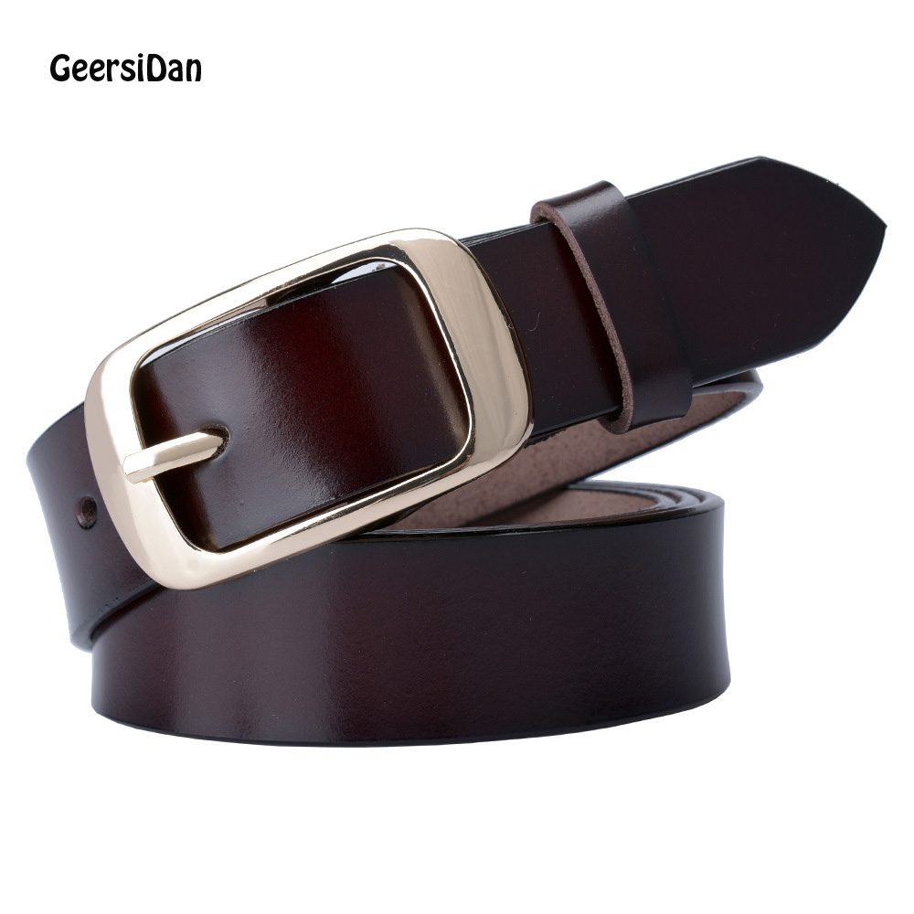 GEERSIDAN 2018 Designer Fashion Women's Belts Genuine Leather Brand Straps Female Waistband Pin Buckles Fancy Vintage For Jeans