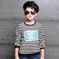 4 5 6 7 8 9 10 11 12 anos menino quente camisa outono Inverno Listrado Camisa De Manga Longa Meninos Camisas Meninos T-shirt de Algodão Coisas Legais