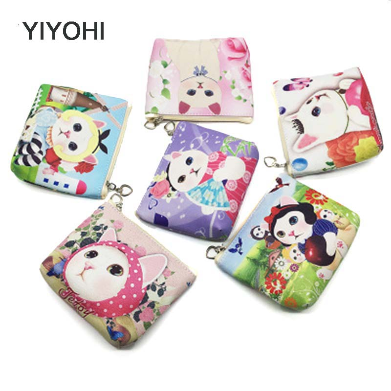 YIYOHI New Unisex PU Leather Cute Cat Zipper Coin Purse For Kids Small Women Coin Wallet Pouch Girls Kawaii Animal Card Key Bag new cute hello kitty handbag pink red girls purse cartoon cat coin bag ladies keychain wallets zipper key holder cash case