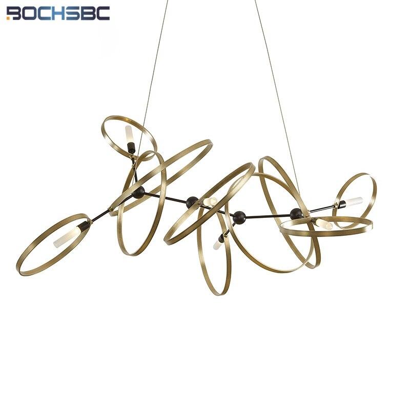 BOCHSBC 2019 lampe suspension design nordique avec cordon en cuivre couleur fer Art Circle G9 LED Tube en verre dépoli luminaire suspendu