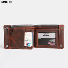 Vintage Genuine Leather Men Wallet Crazy Horse Cowhide Male Short Walle